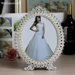 Foto marco perla online-Marco de cristal de la perla oval foto de la boda de aleación de metal Decoración nupcial baby regalos de cumpleaños de la ducha