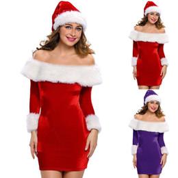 Argentina 2018 Navidad Sexy Mini Vestidos Mujer Santa Claus Bodycon Dresse Off Hombro Fiesta de Manga Larga Vestido de Las Mujeres vestidos Suministro
