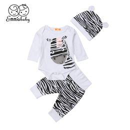 Conjunto de ropa de bebé recién nacido conjunto Ropa infantil Bebé niño algodón pantalones pantalones cebra niños traje 0-6M desde fabricantes