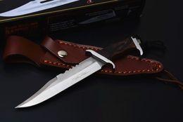 Özel Teklif Küçük Rambo III Survival Düz Bıçak 440C Saten Bıçak Ahşap Saplı Deri Kılıf Ile Sabit Bıçak Bıçaklar İmza Edition nereden küçük hayatta kalma sabit bıçaklar tedarikçiler