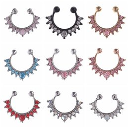 Falso nastro anello nero online-Naso di cristallo nero falso setto piercing naso anello del cerchio per le donne clip corpo falso anelli non gioielli all'ingrosso