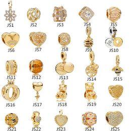 мерцающие прелести Скидка 925 Silver Crystal Clear CZ Подвески золото Сердце Европы шарики приспосабливают Pandora Змея цепь браслет Подвески ювелирные изделия DIY Making