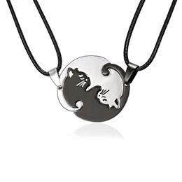 Pendentif de chat animal simple en acier inoxydable collier de couture noir et blanc chaton câlin autour de ? partir de fabricateur