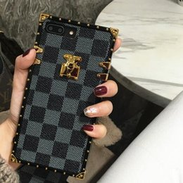 iphone case fashion brand Promo Codes - Luxury Grid Designer Cover Fashion Phone Cases For iPhone X XR XS Max 8 7 6 6s Plus S9 S10 Note9 Leather soft Shell Skin Hull String GSZ508