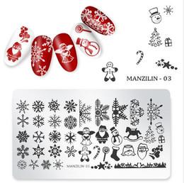 Esmaltes de uñas de navidad online-Navidad Clavo Placa Estampación los copos de nieve de invierno la hoja de arce geométrica Imagen esmalte de uñas plantilla del molde de la plantilla del arte