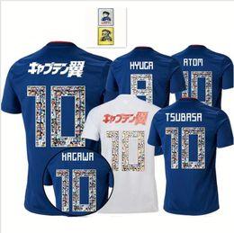 00ae0a4da70 2018 2019 world cup Japan special font  10 TSUBASA Soccer Jersey Home blue  Away white maillot Cartoon font  10 ATOM football uniform