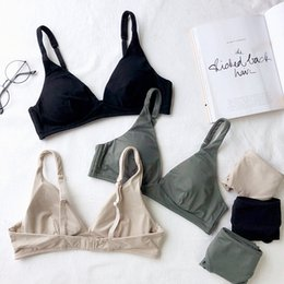 8ef87bf9771 2018 New Fashion Women simple Bra set ladies Underwear brassiere wireless  Lingerie sexy deep-v neck thin pad cup bralette set