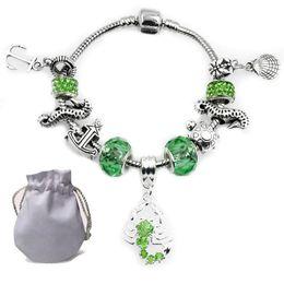 Otantik Gümüş Kaplama Charms Bilezik Fit Pandora Kadın Bileklik Faceted Murano Yeşil Kristal Cam Boncuk Akrep Kolye Takı nereden