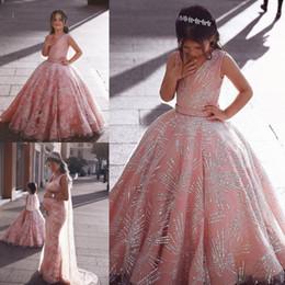 2019 vestidos de estilo princesa para meninas Sul africano estilo dubai meninas rosa flor formal vestidos de menina para casamentos princesa formal a linha crianças criança pageant vestidos de gala lantejoulas vestidos de estilo princesa para meninas barato