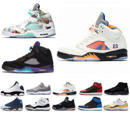 half off e5f7c 45474 Nike Air Jordan Jordans Retro SUP Race 5 ailes 5s PSG Noir Hommes  Chaussures de Basketball Laney Oreo Argent OG Blanc Grape Space Jam Hommes Sport  Sneakers