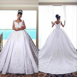 2019 vestidos árabes para casamentos Árabe Uma Linha Branca Vestidos De Casamento Dubai Espaguete Mangas Lace Beads Casamentos Plus Size Vestidos de Noiva vestidos árabes para casamentos barato