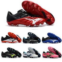 мальчики спортивная футбольная обувь Скидка Новые Mizunos Rebula V1 BASARA AS WID FG NEO II Футбольные бутсы Boys Maillots de Football Boots Открытый футзал Спортивные кроссовки Обувь 40-45