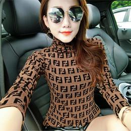Gola alta on-line-Sexy Malha Carta de Impressão Gola Alta camisas Mulheres Transparente Outono Elástico Skinny Tops Elástico Feminino Tees Moda Euramerican Vestuário