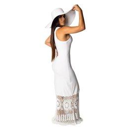 2019 colete de comprimento de chão Verão Mulheres Até O Chão Vestidos Maxi Jumper Colete Vestido Branco Preto Amarelo Rosa Oco Patchwork Sem Mangas Vestidos S-2XL colete de comprimento de chão barato