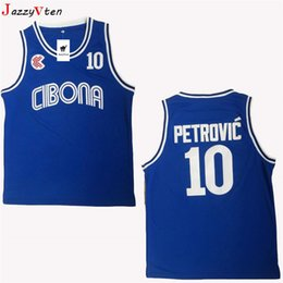 558776cb87b5 men throwback Croatia  10 Cibona Drazen Petrovic Basketball Jerseys Cheap  Drazen Petrovic  4 Jugoslavija Yugoslavia Croatia Stitched Shirts