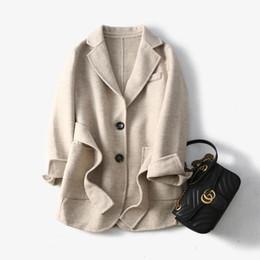 diseños de lana superior Rebajas Top diseño! 2019 nuevo invierno de la llegada señora de la oficina capa de abrigo de lana mujeres envío libre HMR19067SEP3