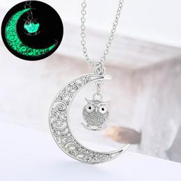 Doni gufo per gli uomini online-2 Stili Moon Owl Pendant Luminous Charm Collana fluorescente Glow in the Dark Collane Donna Uomo Halloween Regali di Natale B458Q F