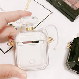 factory price perfume Promo Codes - Good Luxury Perfume Bottle Protective Cover For Airpods TPU Silicone Soft Case With Necklace Earphone Holder Factory Price