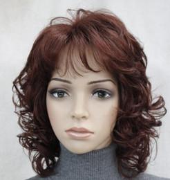 Parrucca borgogna miscela online-WIG HOT Spedizione gratuita Eccellente Borgogna scura Mix breve donna riccia Donna parrucca giornaliera soffice