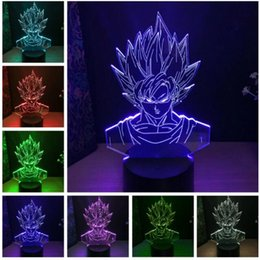 2019 bébés dragon Gros Dragon Ball Super Saiyan Dieu Goku Figurines 3D Illusion Lampe de Table 7 Changement De Couleur Nuit Lumière Garçons Enfant Enfants Bébé Cadeaux bébés dragon pas cher