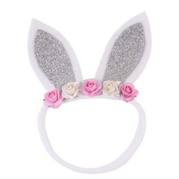 Naturalwell nouveau-nés argent oreilles de lapin bandeau en nylon bandage fille de Pâques baptême bandeau oreilles de lapin accessoire ? partir de fabricateur