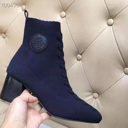 botas de mujer de cuero suave diseñador Rebajas Botas de tobillo de punto suave de marca para mujer Diseñador de parche de cuero Tacón en forma de herradura Suela de goma Bota casual