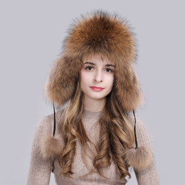 real fox hats Coupons - Hot Sale Winter Russian Natural Real Fox Fur Hat Quality Women Warm Good Quality Fox Fur Bomber Hats Genuine Real Fox Fur Cap