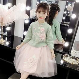 Conjuntos de ropa de niñas chinas online-Baby Girls Clothing set Estilo chino otoño primavera Flower Top + falda de malla 2 piezas traje para niña Tang Kids Costume 2 3 10 años