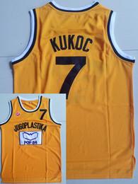 Укомплектованный штатный трикотаж онлайн-Мужчины Moive Toni Kukoc Jersey 7 желтых футболок Jugoplastika Split Pop Jerseys Все сшитые для любителей спорта дышащий высокое качество