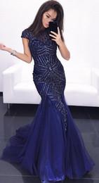 Canada Bleu marine cristaux de sirène robes de soirée 2019 mancherons robes de bal en tulle perlé sexy luxueux formelle demoiselle d'honneur robes de reconstitution historique supplier navy blue formal gown cap sleeves Offre
