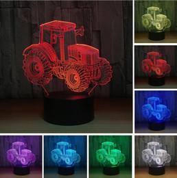 Argentina Creative 3D Cool Dynamic Tractor Vehículo de coche 7 colores cambiantes USB escritorio lámpara de mesa Base táctil remota niños cumpleaños Festival Juguete de Navidad regalos cheap desk lamp base Suministro