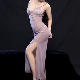 2019 peignoirs de filles sexy Robe longue de nuit noire en dentelle noire avec robe de nuit à encolure en V et robe de nuit