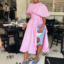 2019 festa abiti donne alte Donne Ruffles Summer Dress Donna due lati Split Plaid vita alta manica corta lungo vestito casuale moda casual vestiti da partito S-XXXL C42206 festa abiti donne alte economici