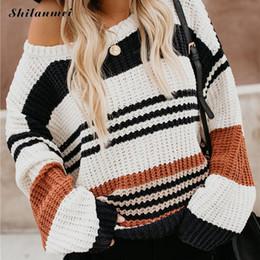 Mode warmen Herbst und Winter Pullover Damenmode Streifen O Kragenpullover Langhülse Frauen beiläufige Strickjacke Pull von Fabrikanten