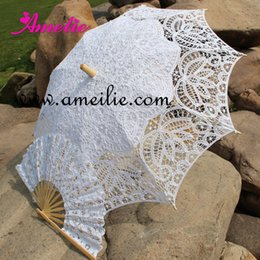Ventiladores de parasol online-Battenburg Lace Parasol and Fan set Wedding Bride Umbrella Fan