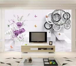 Carta da parati del tulipano online-Personalizzato 3D Stereo Tulip 3D solido cerchio Foto Wallpaper Sfondo Wallpaper Pittura murale Sala da pranzo TV murale