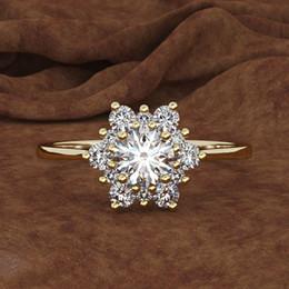 Schneeflockendiamant online-D. schmuck großhandel Weiß Hochzeit Ringe Kreative schneeflocke ring damenmode trend simulation diamant hand schmuck