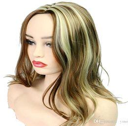 2019 perruque noire et blanche Perruque synthétique pour femmes noires / blanches sans colle ondulée cosplay perruque synthétique perruque noire et blanche pas cher