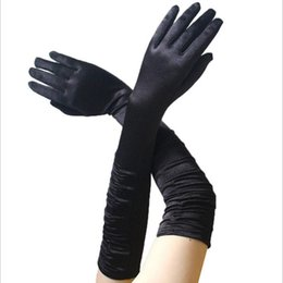 operenkostüme Rabatt Frauen Solud Farbe Vintage Satin Lange Finger Ellenbogenhandschuhe Gatsby Opera Abend Party Prom Kostüm Mode Handschuh