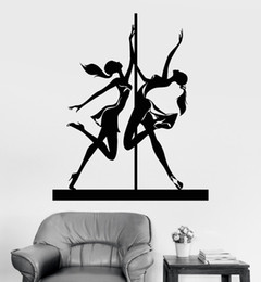 sexy decals wall art Promo Codes - Sexy Striptease Pole Dance Art Wall Decal Vinyl Dancer Stripper Wall Stickers Living Room Mural Sofa Background Wallpapers