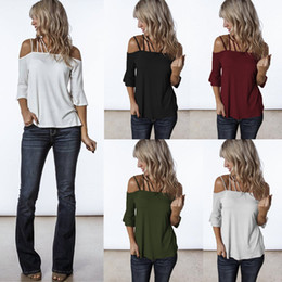 L'usine vend des vêtements en Ligne-2019 Femmes d'été t-shirt Sexy Slash Neck Bell Sleeve Couleur pure designer designer Womens vente chaude vêtements pour femmes Chine usine