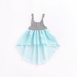 Vestido de cola de milano de las muchachas online-Baby Girl Dress Kids Screen Falda Dovetail Frente Corto Largo de espalda Vestido Dovetail Raya sin mangas Tops 32