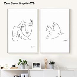 голубь Скидка Пикассо Мир Dove Абстрактный черный и белый Line Art Живопись Холст печати Плакат Фото Стена Гостиная Home Decor