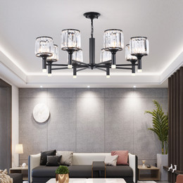 iluminación americana vintage Rebajas Nueva American Vintage Style Crystal Chandelier Lighting E27 LED Interface Lámparas de techo de hierro K9 Crystal Design Lighting Fixture