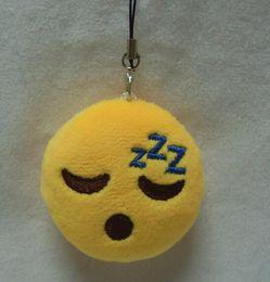 Pequeno brinquedo de pelúcia chaveiro on-line-Recheado Emoji Chaveiro Brinquedos de Pelúcia 5 cm Emoji Sorriso Pequeno Chaveiro Emoção QQ Expressão Recheado Brinquedo De Pelúcia Boneca para Celular pingente