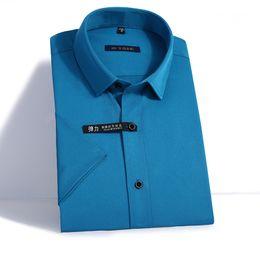 2019 Nuevo Diseño de Verano de Manga Corta Camisa de Vestir de Los Hombres Elástico Suave Algodón Fibra de Bambú de Alta Calidad Sólido No Hombres de Trabajo Camisas de Trabajo # 444814 desde fabricantes