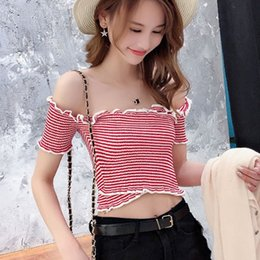 0221ae5abfc146 Elegant Off Shoulder Ruffles Cropped T-shirt Women Summer Solid Short  Sleeve T-Shirt Top Ladies Elastic Knitted Short Tee Top affordable elegant  off ...