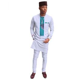 Pantaloni lunghi da uomo e pantaloni impostati African Wax Print 2 pezzi camicie  Set di pantaloni per uomo tradizionale stile africano WY3279 a7a3e24bc91