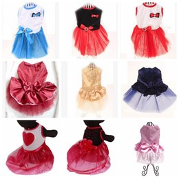 dogs tutu clothes Promo Codes - Dog Tutu Dresses Rhinestone Bowknot Puppy Princess Dress Party Dog Dress Wedding Dress Dog Clothes Supplies 12 Colors YW3179