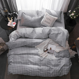 2019 graue queen-size-bettwäsche-set Gray Plaid Geometric Bedclothes Flachbettlaken Bettwäsche-Set King Queen Full Twin Size Bettbezug Bettwäsche Bettwäsche Kissenbezug günstig graue queen-size-bettwäsche-set